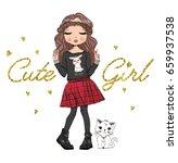 cute girl fashion girl romantic ... | Shutterstock .eps vector #659937538