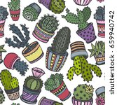 seamless pattern with hand... | Shutterstock .eps vector #659940742