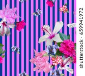 floral tropical patten collage... | Shutterstock . vector #659941972