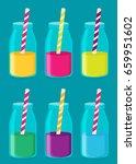 juice in a bottle icon. flat... | Shutterstock .eps vector #659951602