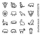 mammal icons set. set of 16... | Shutterstock .eps vector #659953378