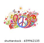 psychedelic print with hippie... | Shutterstock . vector #659962135