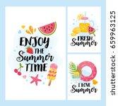 """enjoy the summer time"" card... | Shutterstock .eps vector #659963125"