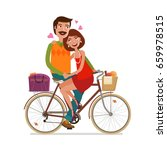 loving couple riding on picnic... | Shutterstock .eps vector #659978515