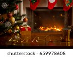 christmas background with... | Shutterstock . vector #659978608