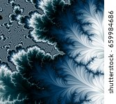Dark Blue And White Fractal...