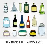 set og hand drawn cans and... | Shutterstock .eps vector #65998699