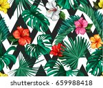 vector tropical palm leaves... | Shutterstock .eps vector #659988418