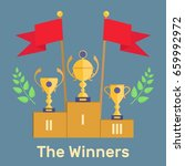 trophies on the podium with red ... | Shutterstock .eps vector #659992972