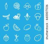 Vegetarian Icons Set. Set Of 1...