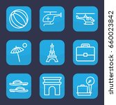 tourism icon. set of 9 outline... | Shutterstock .eps vector #660023842