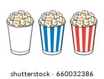 popcorn bucket boxes isolated. | Shutterstock .eps vector #660032386