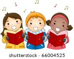 Illustration of Kids Singing Christmas Carols - stock vector