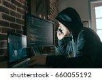 Hacker Using Mobile Smartphone...