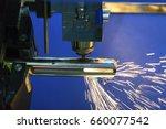 the cnc fiber laser cutting... | Shutterstock . vector #660077542
