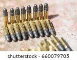 many ammunition bullets. 22 lr ... | Shutterstock . vector #660079705