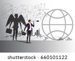 businessman and angel shadow... | Shutterstock .eps vector #660101122