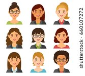business women flat avatars set ... | Shutterstock .eps vector #660107272