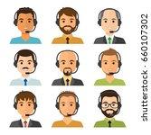 call center men agents flat... | Shutterstock .eps vector #660107302