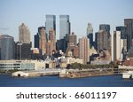 A view of the piers along the Hudson River and the New York City skyline. - stock photo