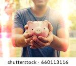 saving money concept.man... | Shutterstock . vector #660113116