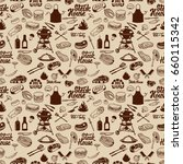 bbq and grill seamless pattern. ... | Shutterstock .eps vector #660115342