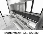 Stock photo open cabinets kitchen ideas d rendering mock up concept design illustration 660129382