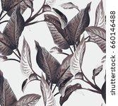 leaves seamless pattern.... | Shutterstock . vector #660146488