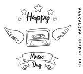 world music day hand draw...   Shutterstock .eps vector #660163996