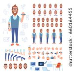 front  side  back view animated ... | Shutterstock .eps vector #660164455
