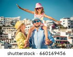 happy family traveling. people... | Shutterstock . vector #660169456