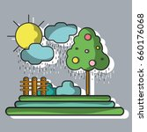 counds raining with tree and... | Shutterstock .eps vector #660176068