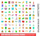 100 house cleaning icons set in ... | Shutterstock . vector #660176092