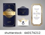 set of wedding invitation... | Shutterstock .eps vector #660176212
