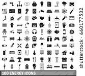 100 energy icons set in simple... | Shutterstock . vector #660177532