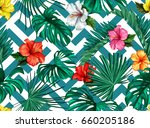 vector nature floral seamless... | Shutterstock .eps vector #660205186