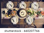 elegant restaurant table... | Shutterstock . vector #660207766