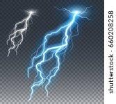 lightning and thunder bolt or... | Shutterstock .eps vector #660208258