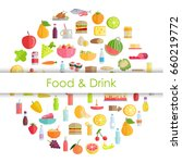 food and drinks round banner... | Shutterstock .eps vector #660219772