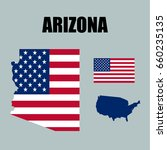 arizona map with usa flag | Shutterstock .eps vector #660235135