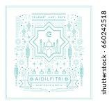 raya greeting template islamic... | Shutterstock .eps vector #660242518