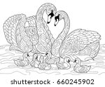Coloring Book Page Of Swan...