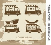 food trucks set   vintage... | Shutterstock .eps vector #660259582