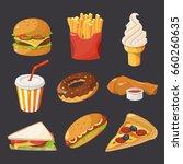 fast food illustration in... | Shutterstock .eps vector #660260635