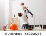 happy boy imagining that he can ... | Shutterstock . vector #660268285