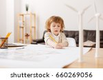 attentive blonde man child... | Shutterstock . vector #660269056