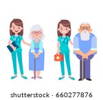 young female nurse helping... | Shutterstock .eps vector #660277876