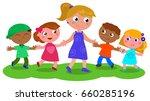 cartoon teacher or baby sitter...   Shutterstock .eps vector #660285196