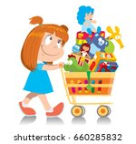 cute little girl in a blue... | Shutterstock .eps vector #660285832