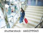 a young modern beautiful woman... | Shutterstock . vector #660299065